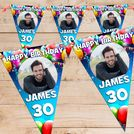 Personalised Happy Birthday Flag PHOTO Bunting Banner - N65 Birthday Balloon Burst design